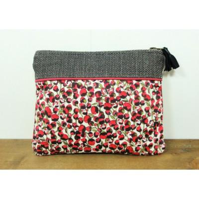 Pochette en coton motif roses et lin
