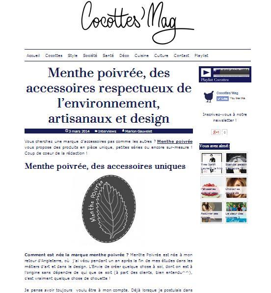 Interview Cocotte Mag - Menthe Poivrée